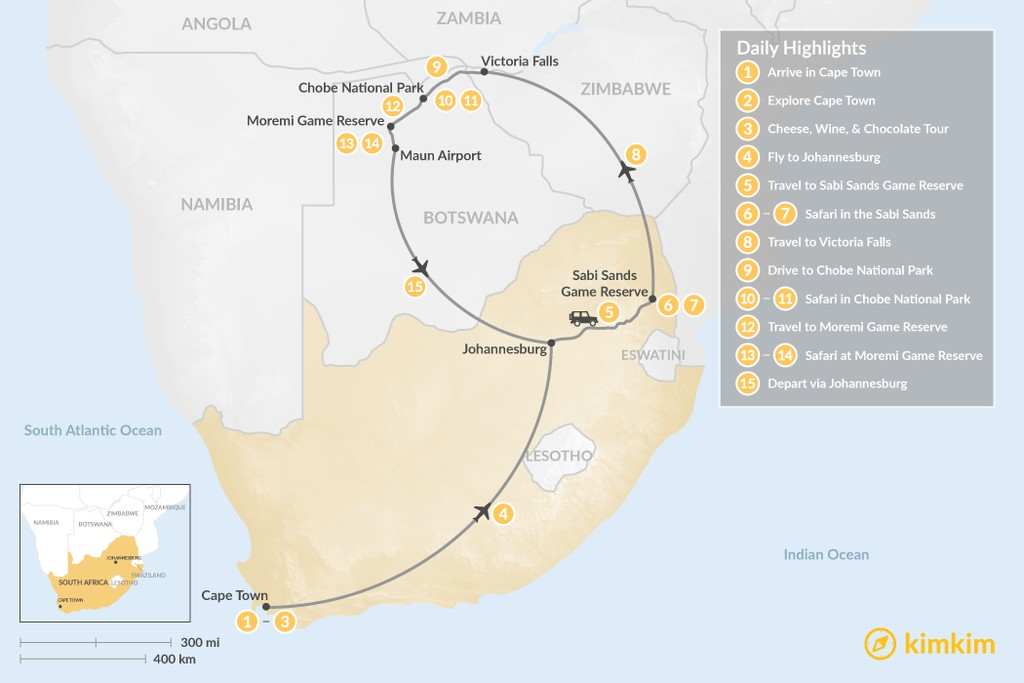 Map of Southern Africa Safari: Cape Town, Victoria Falls, Chobe National Park, & More - 15 Days