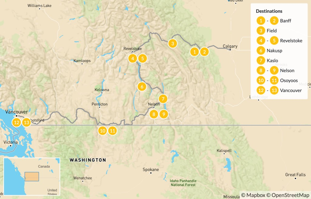 Map of Calgary to Vancouver Road Trip: Banff, Revelstoke, Nelson, & Osoyoos - 14 Days