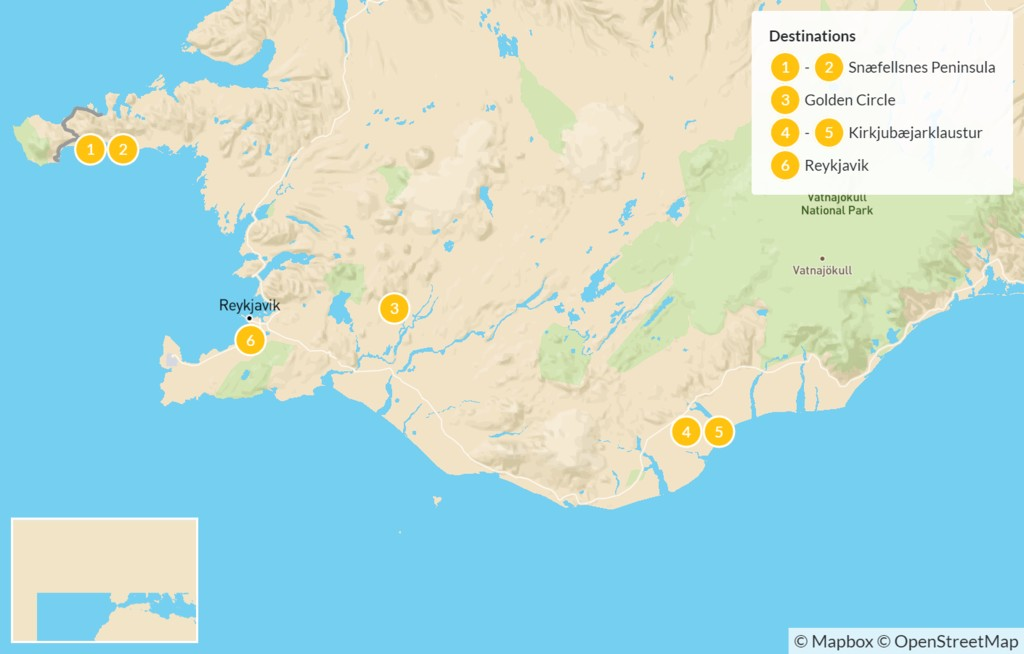 Map of Iceland: Winter Waterfalls & Glacier Tours - 7 Days