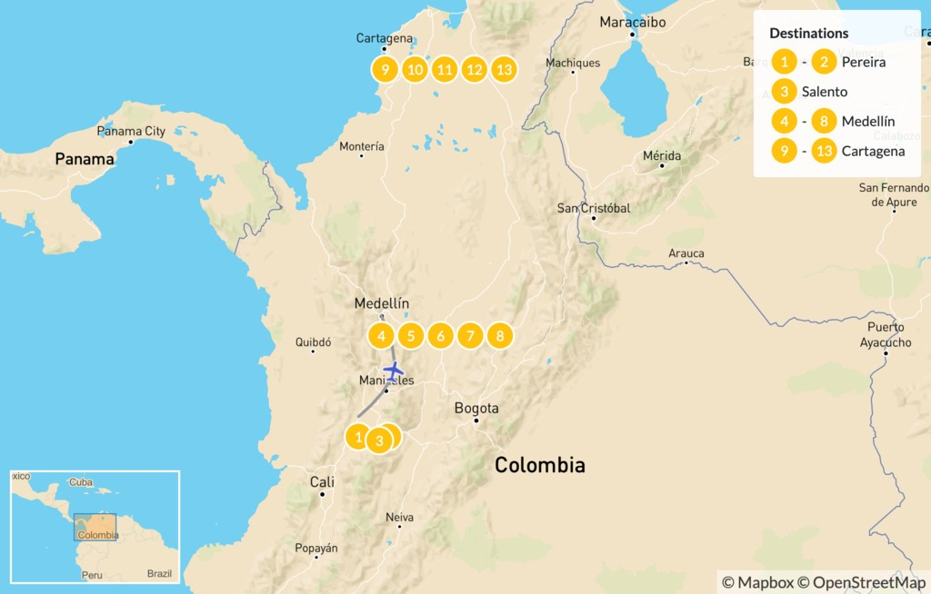 Map of Colombia Adventure: Zona Cafetera to the Caribbean Coast - 15 Days