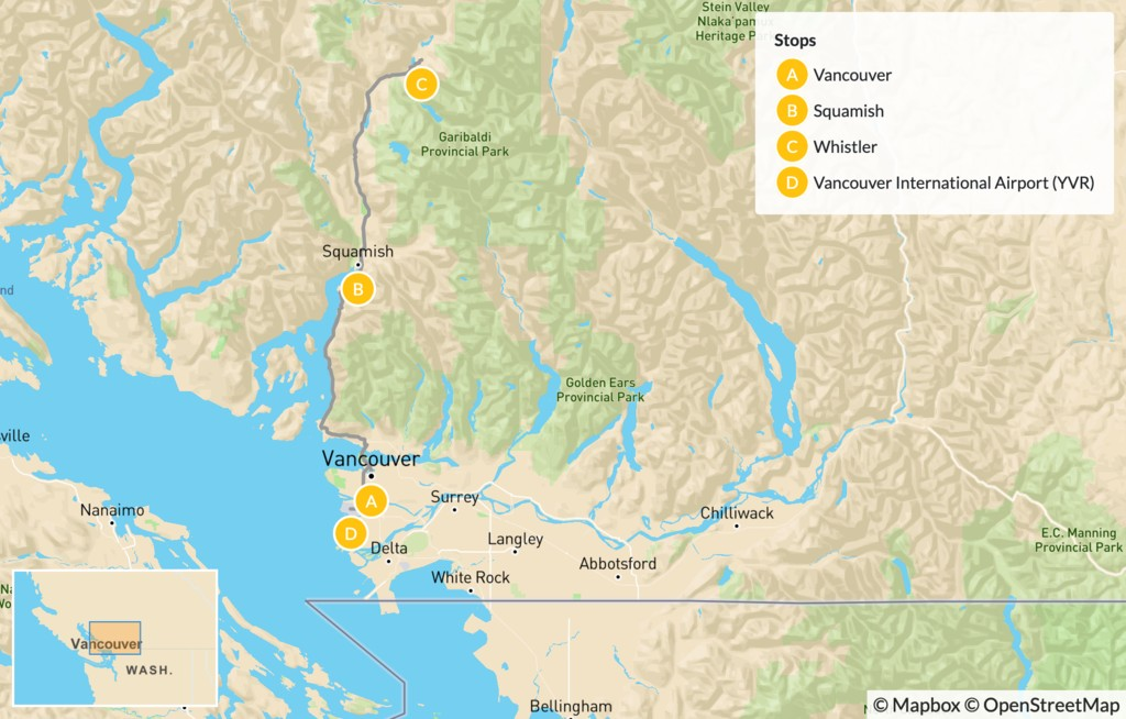 Map of Sea-to-Sky Highway: Vancouver to Whistler - 5 Days
