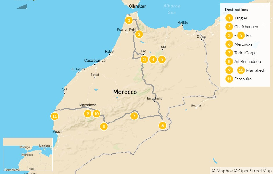 Map of Grand Morocco Tour: North to South - 12 Days