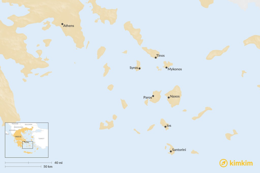 Map of Ultimate Guide to the Cyclades Islands
