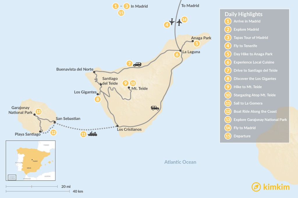 Map of Explore Madrid and the Canary Islands: Tenerife and La Gomera - 15 Days