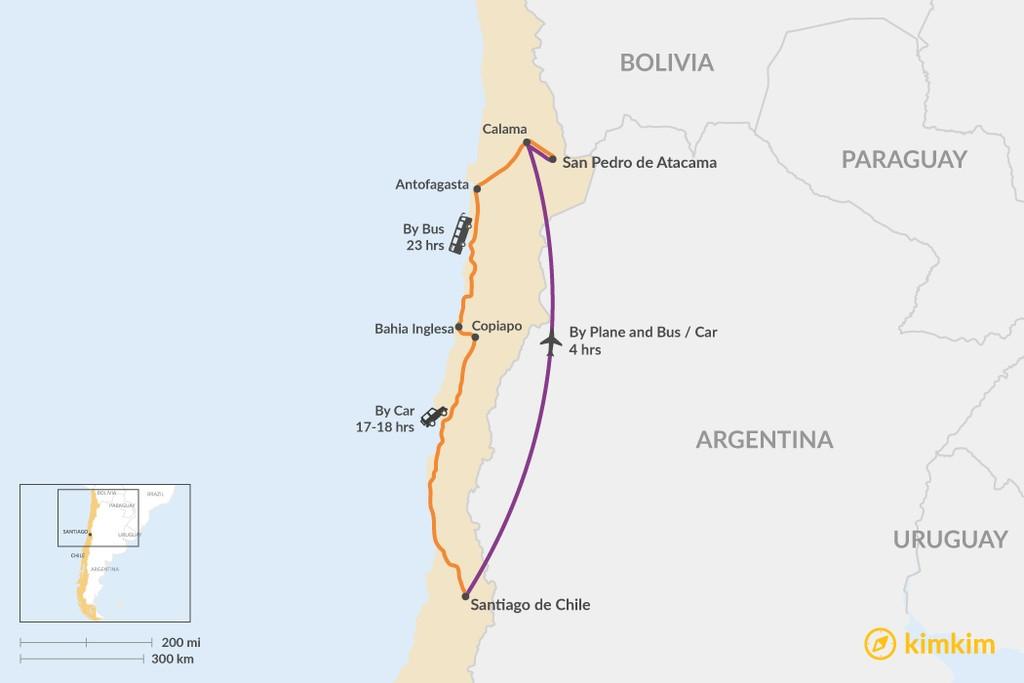Map of How to Get from Santiago to San Pedro de Atacama