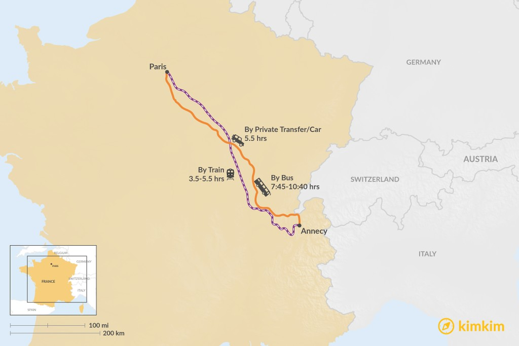 Map of How to Get from Paris to Annecy