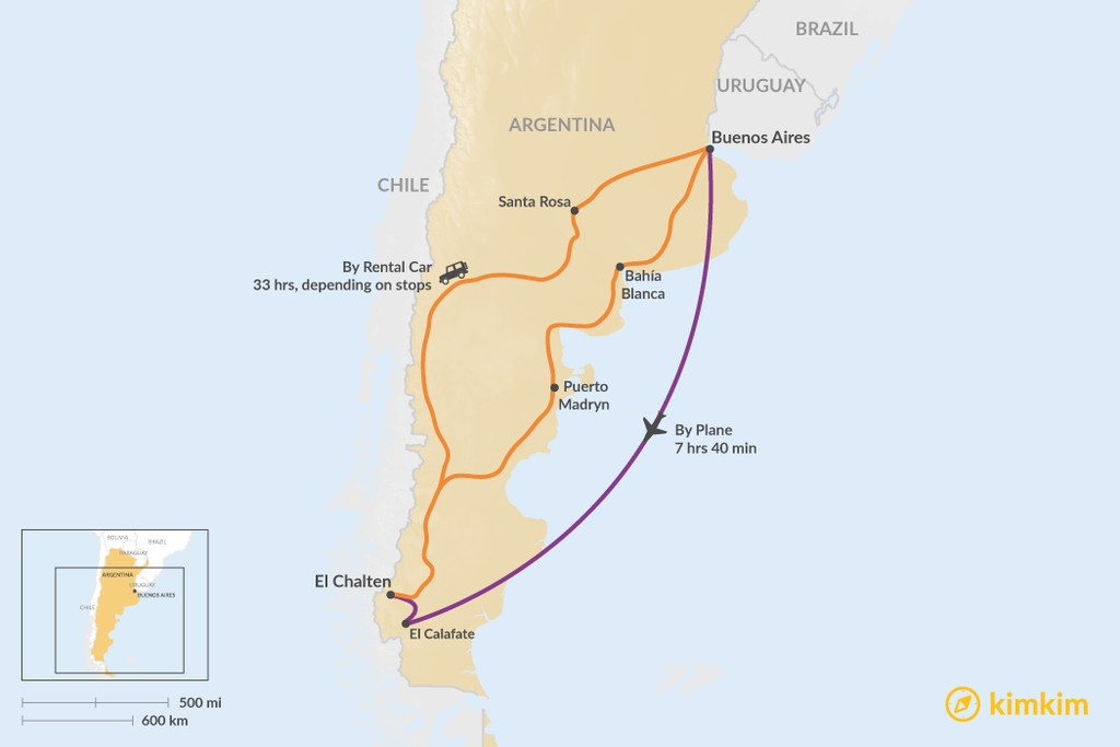 Map of How to Get from Buenos Aires to El Chalten