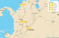 Map thumbnail of Highlights of Colombia: Medellín,  Cartagena, Bogotá - 12 Days