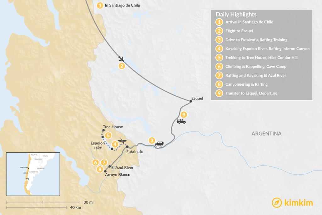 Map of Futaleufu River Rafting Multisport Adventure - 9 Days