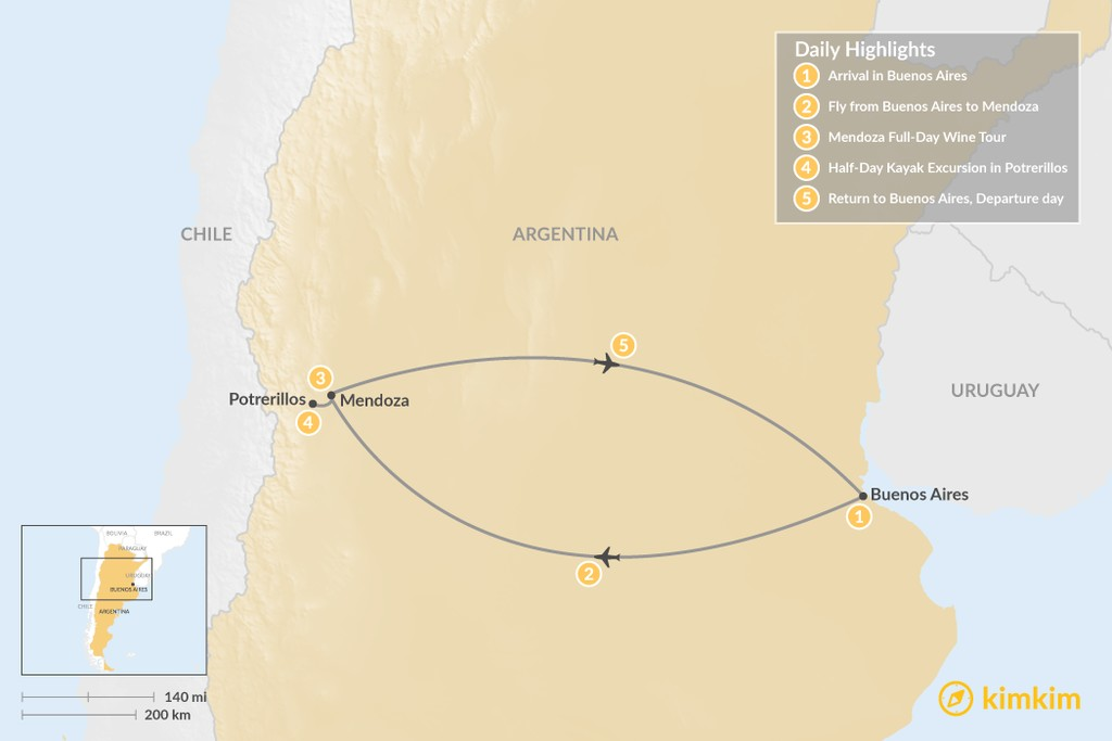 Map of Argentina's Wine Country: Buenos Aires & Mendoza - 5 Days