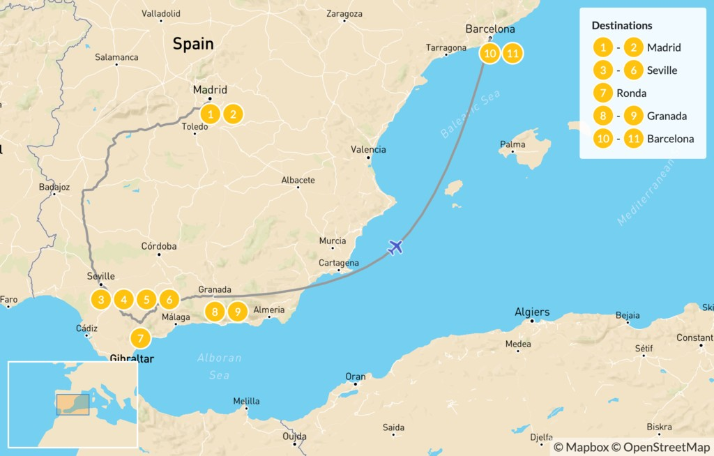 Map of Best of Spain Highlights Tour: Barcelona, Madrid, & Seville - 12 Days