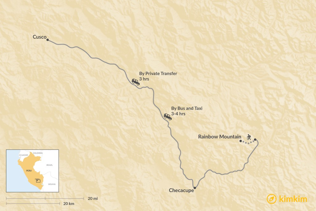 Map of How to Get from Cusco to Rainbow Mountain