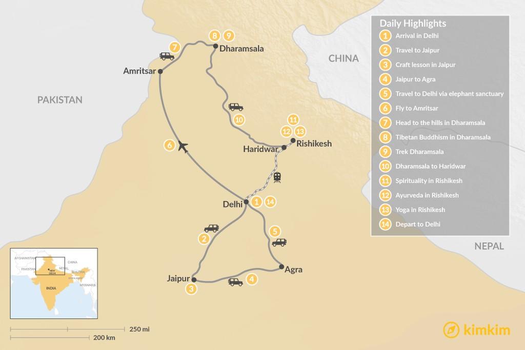 Map of Third Eye Tour of India - 14 Days