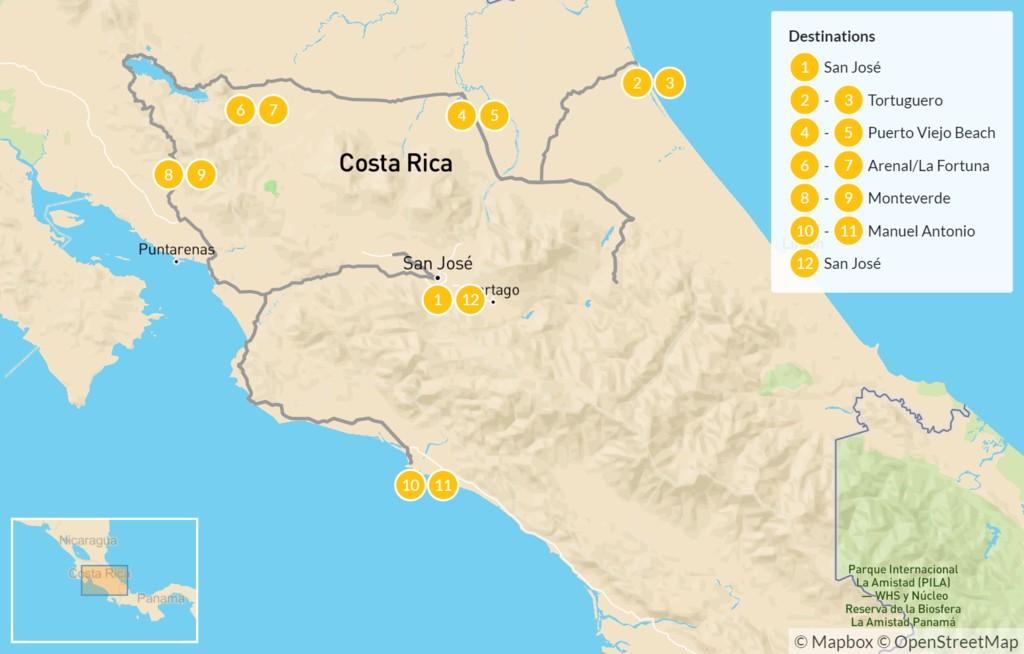Map of Coastal Costa Rica: Tortuguero, Puerto Viejo, Arenal, Monteverde, & Manuel Antonio - 13 Days