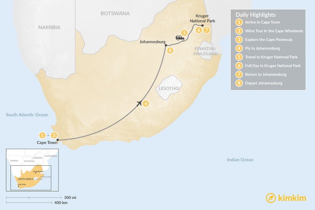 Map of Classic South Africa: Cape Town, Johannesburg, & Kruger Safari - 8 Days