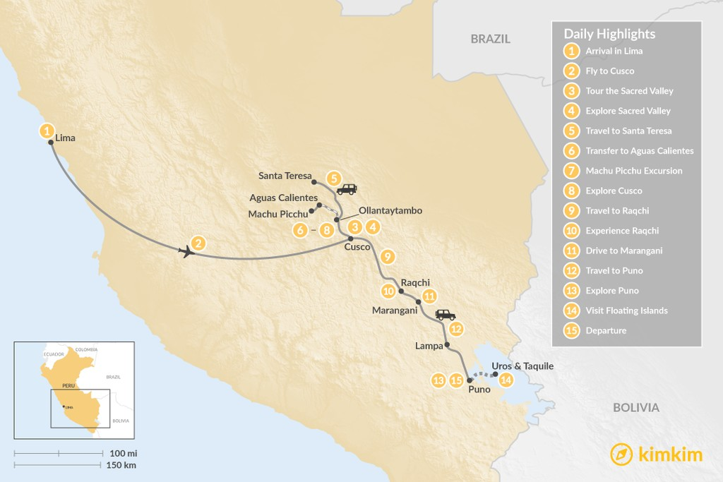 Map of Peru Classic Tour with Jungle Trail - 15 Days