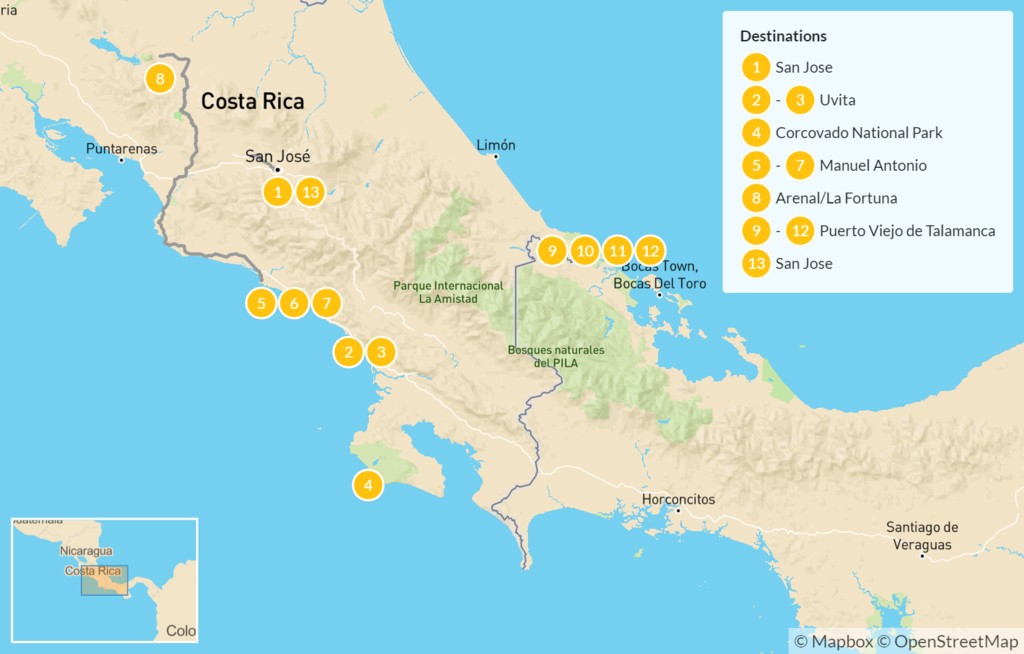 Map of Coastal Costa Rica: Caribbean & Pacific Adventure - 14 Days