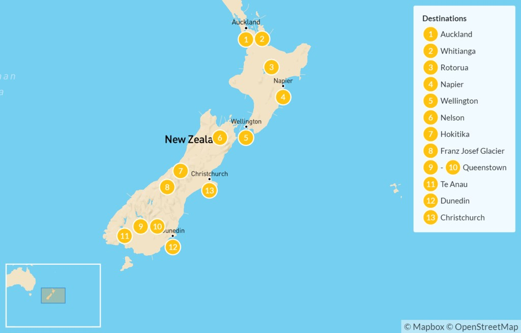 Map of Ultimate New Zealand Road Trip: Auckland, Rotorua, Wellington, Queenstown, Te Anau, Christchurch, & More - 14 Days
