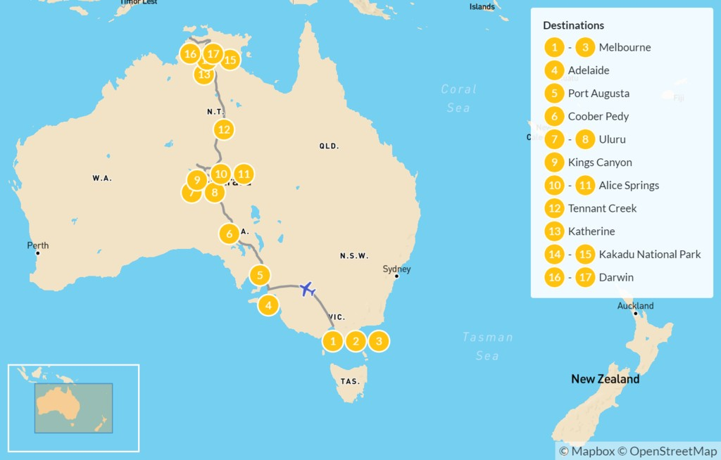 Map of Australian Outback Self-Drive Tour- 18 Days