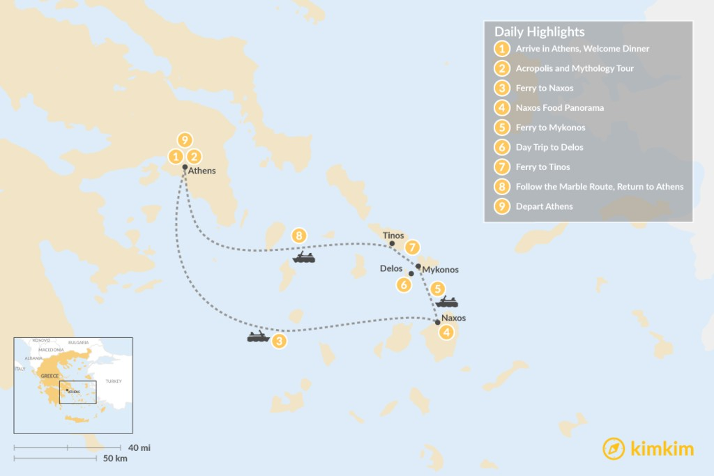 Map of Past and Present in Athens, Tinos, Mykonos & Naxos - 9 Days
