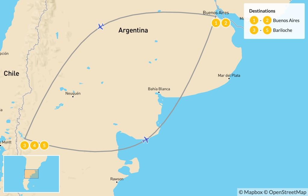 Map of Argentina Ski Adventure - 6 Days