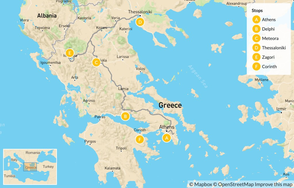 Map of Family Exploration of Mainland Greece: Athens, Delphi, Meteora, & More - 14 Days