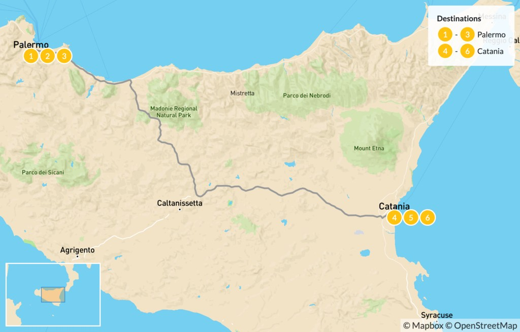 Map of Sicily Highlights Tour - 7 Days