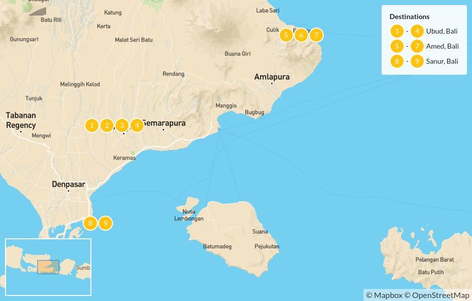 Map of Bali Adventure: Ubud, Amed, & Sanur - 10 Days