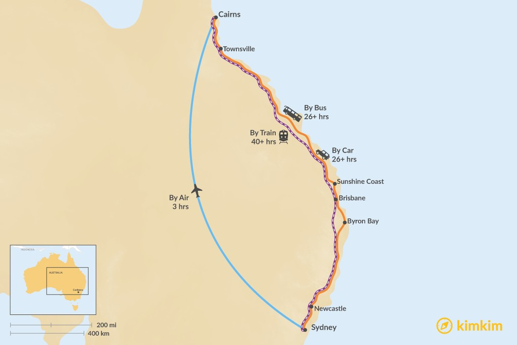 Map of How to Get from Sydney to Cairns