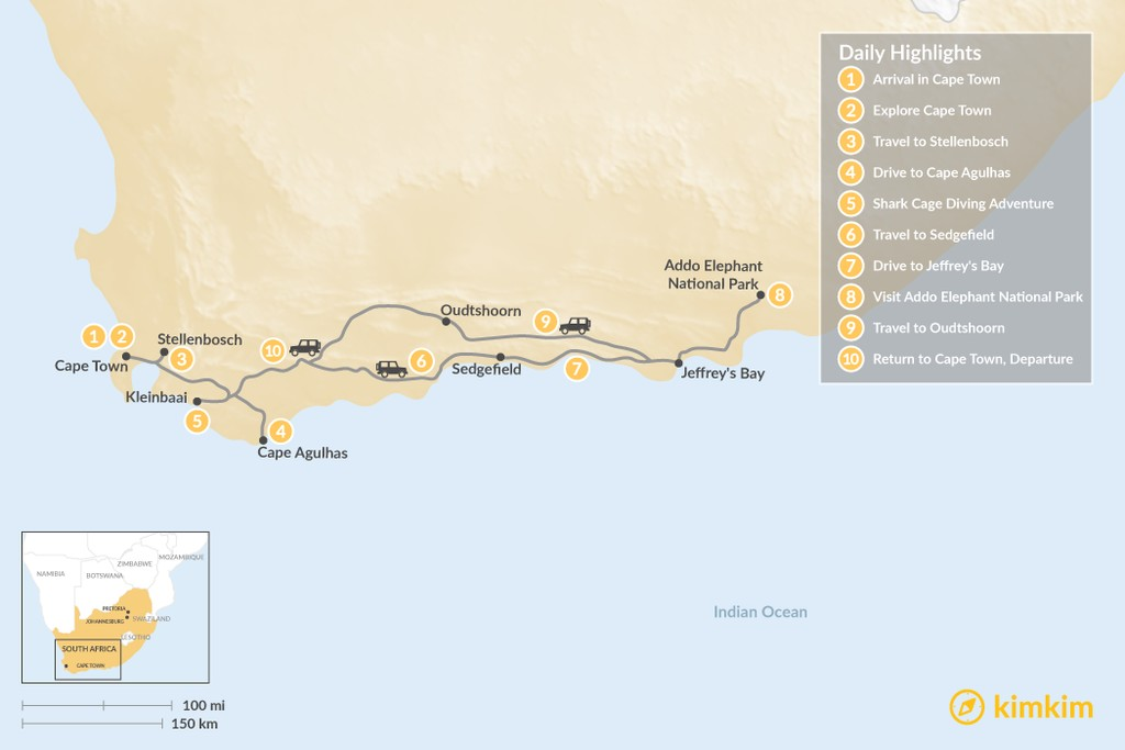 Map of Cape Town & Garden Route Adventure - 10 Days