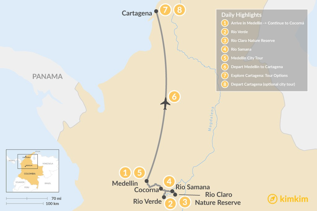 Map of Colombia's River & City Adventure - 8 Days