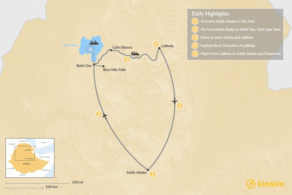Map of Short Trip to Ethiopia's North: 5-Day Itinerary