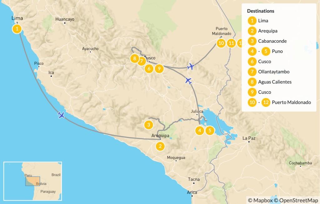 Map of Culture & Nature in Peru: Colca Canyon, Machu Picchu, Sacred Valley, Lake Titicaca - 14 Days