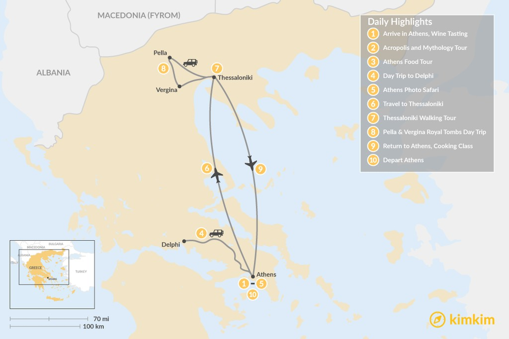 Map of  Urban Adventures and History in Athens & Thessaloniki - 10 Days