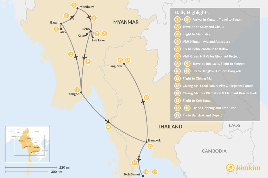 Map of Myanmar & Thailand for Families - 19 Days