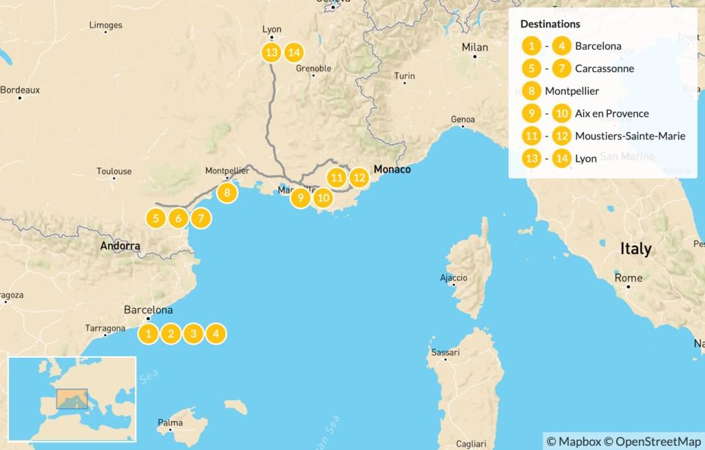 Map of Spain and France Road Trip: Barcelona, Carcassonne, Verdon Gorge, Aix-en-Provence, Lyon, & More - 15 Days