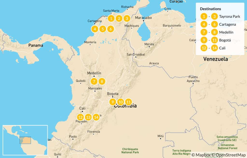 Map of Journey Across Colombia's Cities: North to South - 15 Days