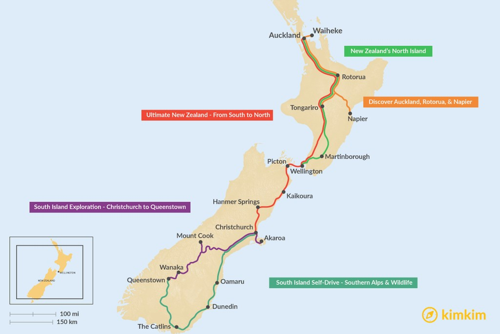 Map of 7 Days in New Zealand - 5 Unique Itinerary Ideas