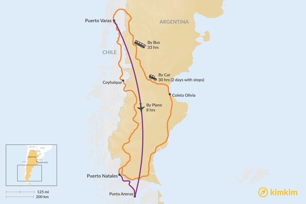 Map of How to Get from Puerto Varas to Puerto Natales