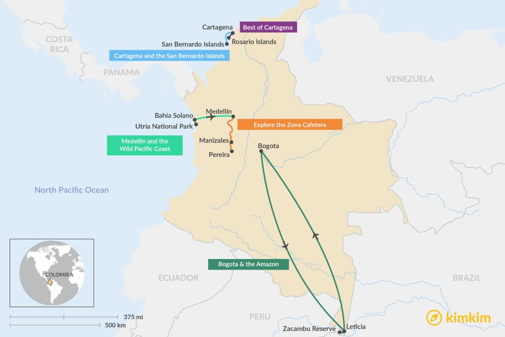 Map of 5 Days in Colombia - 5 Unique Itinerary Ideas