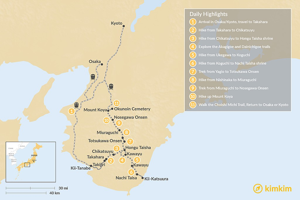 Map of Hiking Japan's Kumano Kodo - 11 Days