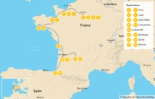 Map thumbnail of Family Adventure in Western France: Paris, Caen, Saint-Malo, Bordeaux, Basque, & More - 19 Days