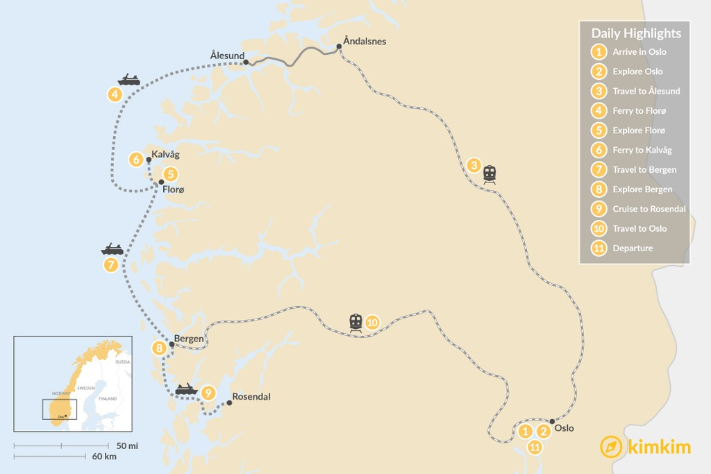 Map of Western Norway's Rivers, Islands & Fjords - 11 Days