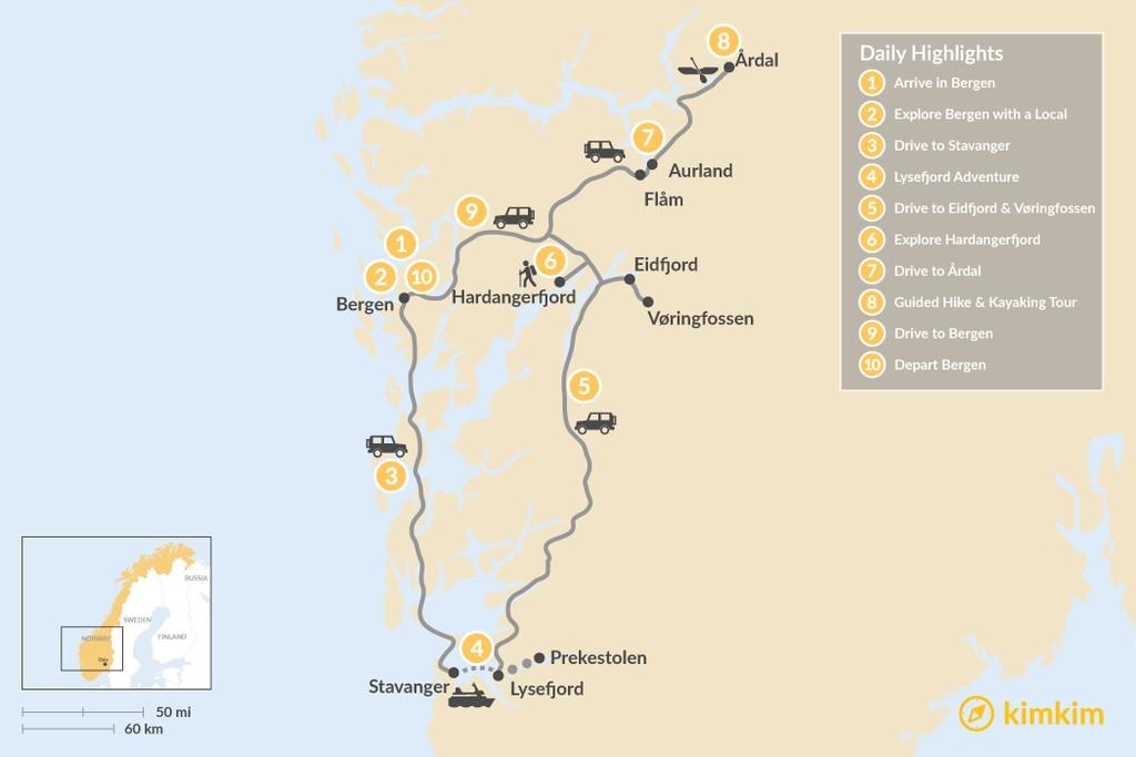 Map of Norwegian Fjord Road Trip - 11 Days