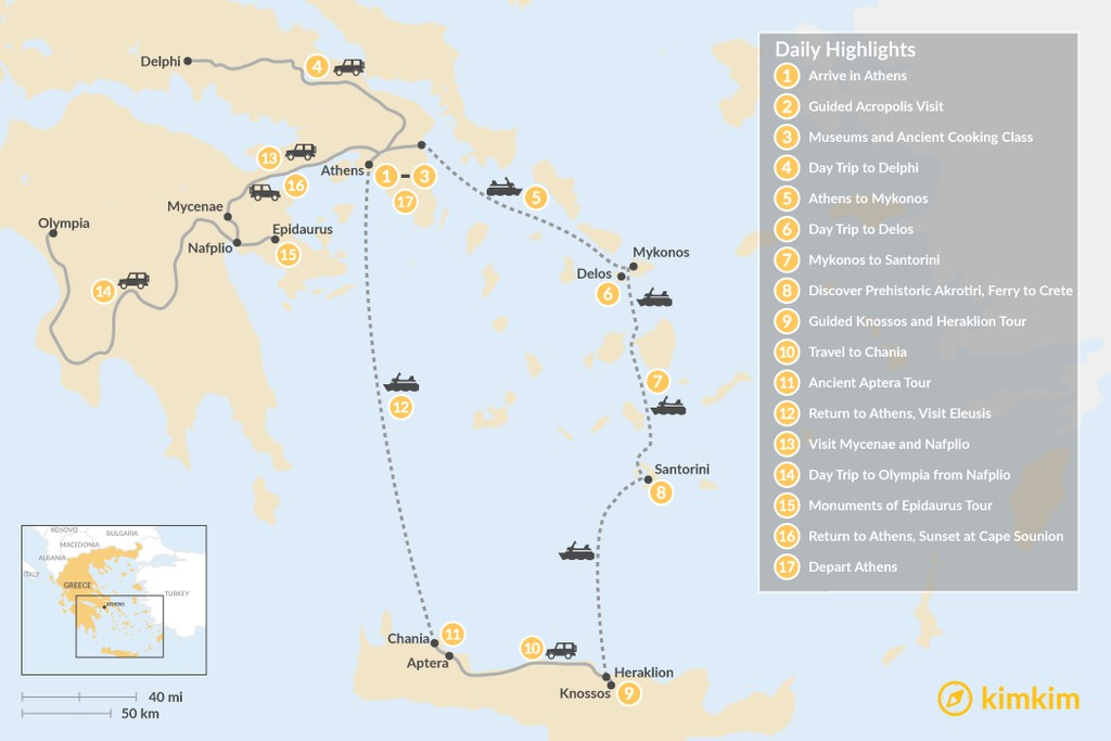 Map of Historic Athens, Mainland Greece, Cyclades, and Crete - 17 Days