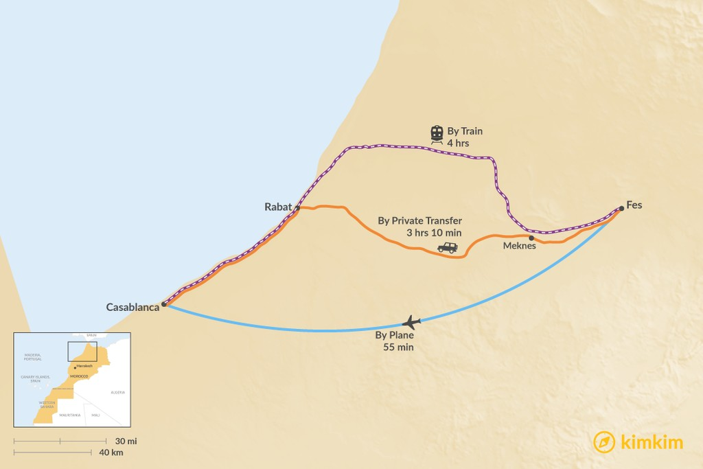 Map of How to Get from Fes to Casablanca