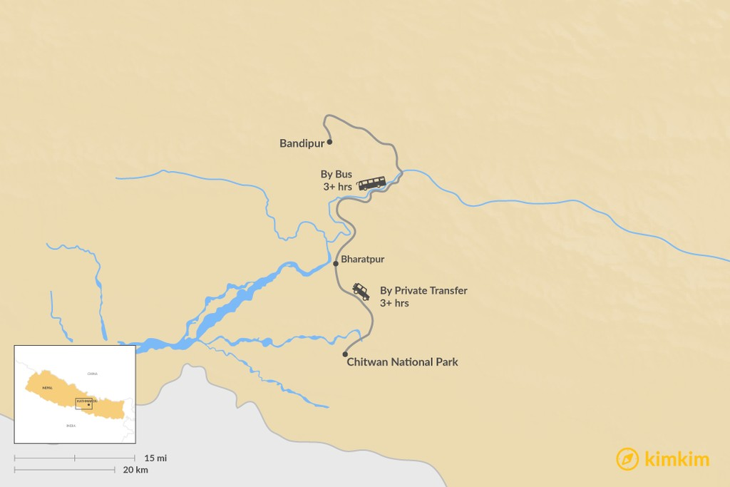 Map of How to Get from Bandipur to Chitwan National Park