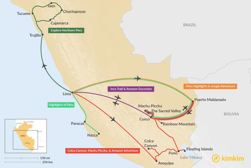 Map of 12 Days in Peru - 5 Unique Itinerary Ideas