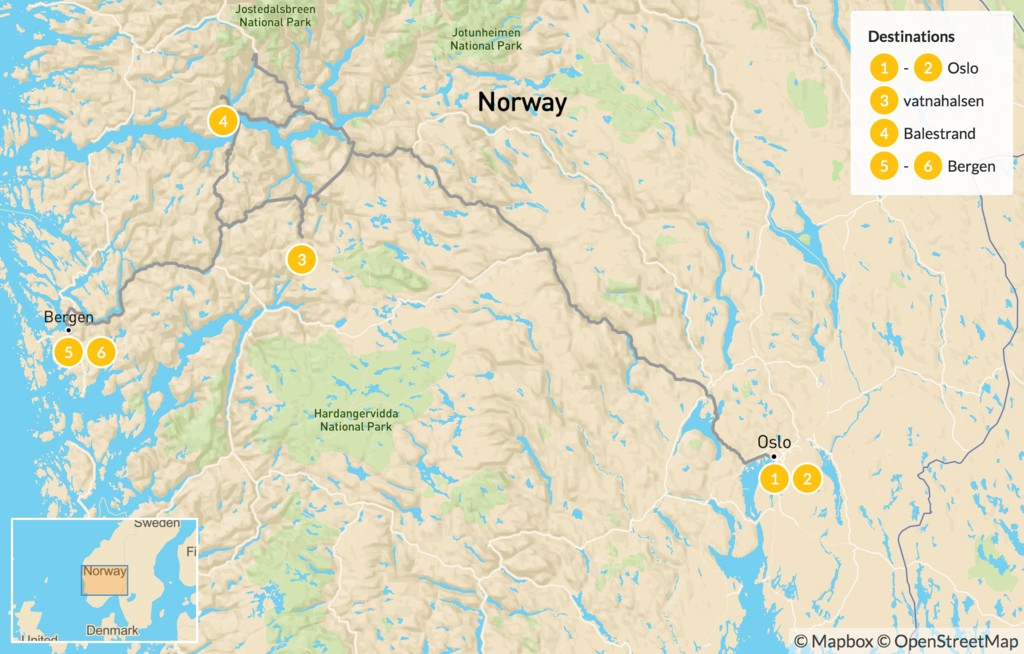 Map of Family Hiking in Oslo, Bergen & the Sognefjord - 7 Days