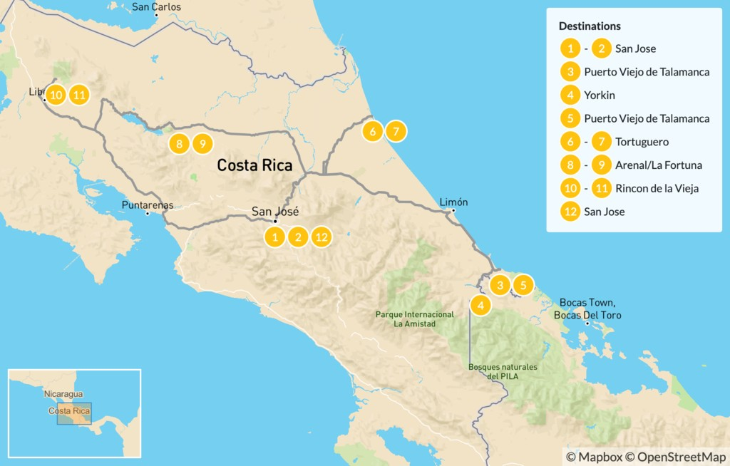 Map of Cultural Tour of Costa Rica: Arenal & Tortuguero - 13 Days